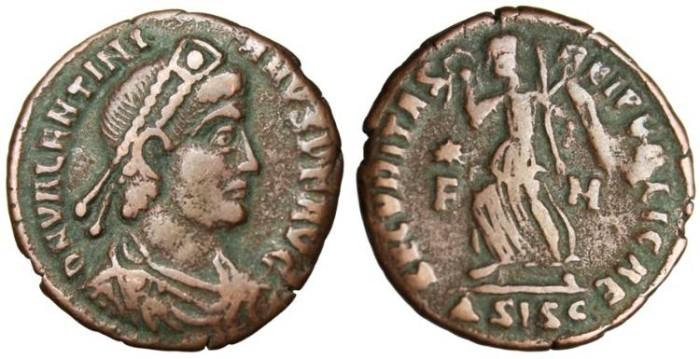 "Ancient Coins - Valentinian I, AE3 ""SECVRITAS REIPVBLICAE Victory"" Siscia Authentic"