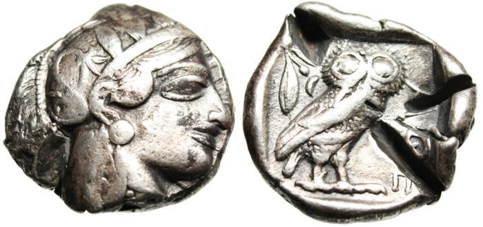 "Ancient Coins - Attica, Athens Silver AR Tetradrachm ""Athena & Owl"" Test Cut VF"