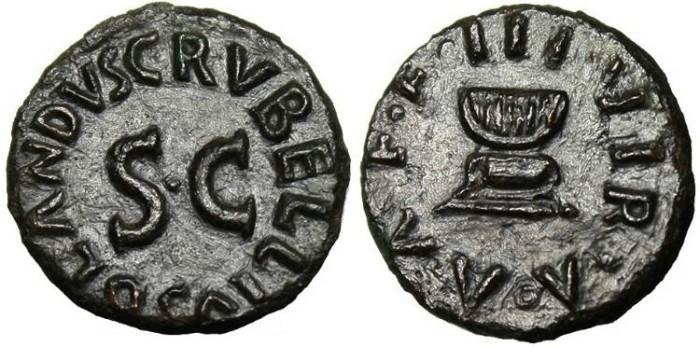 "Ancient Coins - Augustus AE Quadrans ""Garlanded Altar"" EF RIC 467"