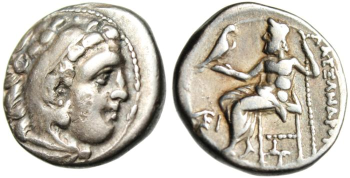 "Ancient Coins - Alexander III The Great Silver AR Drachm ""Hercules & Zeus"" Ionia Kolophon Rare"