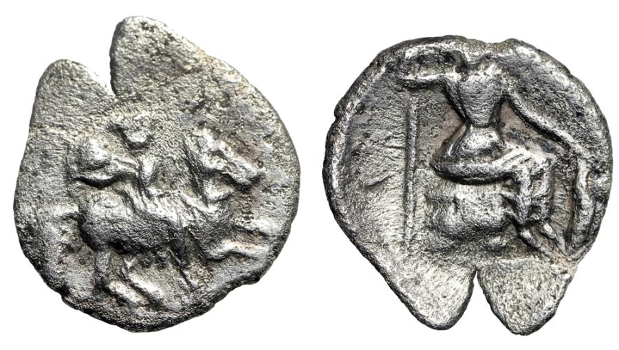"Ancient Coins - Cilicia, Uncertain AR Obol ""Horseman Riding & Athena Seated"" Good VF Rare"