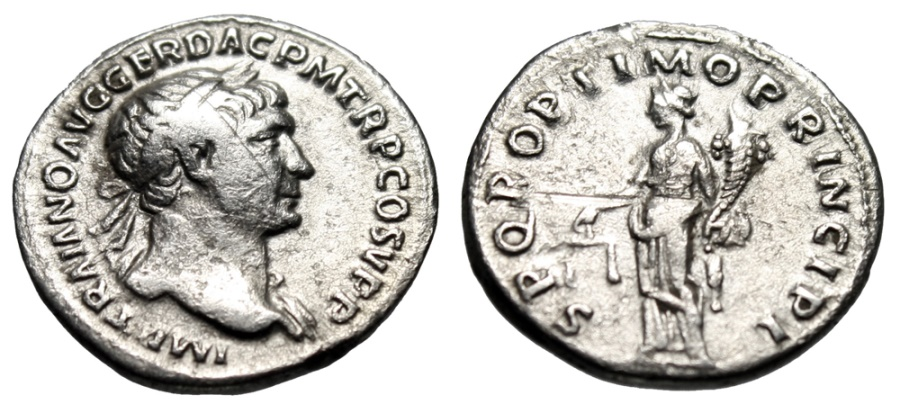 "Ancient Coins - Trajan Budget Silver Denarius ""Aequitas With Scales, Balance & Measure"" Rome"