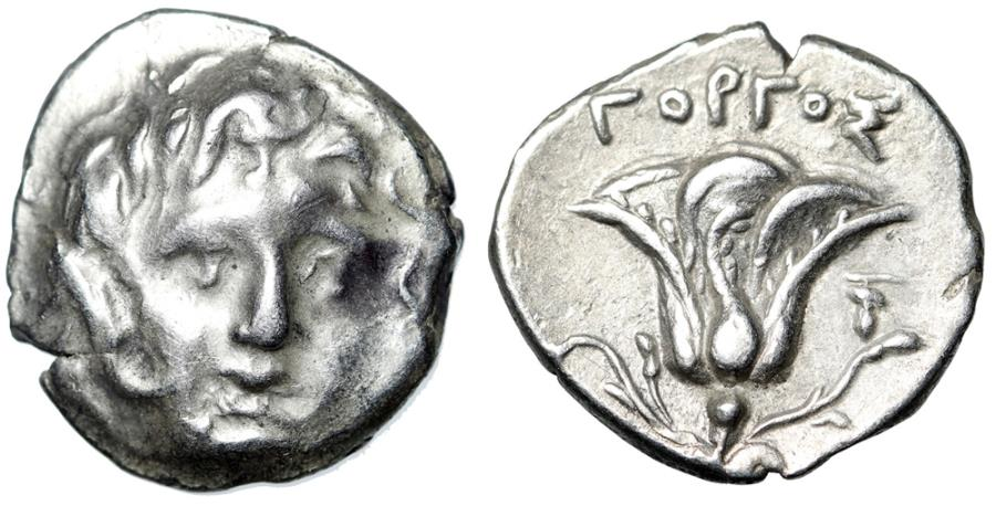 "Ancient Coins - Macedonian Kingdom: Perseus AR Drachm Imitating Rhodes ""Helios & Rose"" Rare"