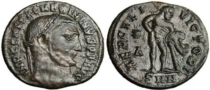 "Ancient Coins - Maximinus II, AE Follis ""HERCVLI VICTORI Hercules"" Nicomedia RIC 75"