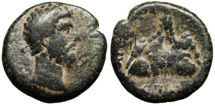 """Ancient Coins - Lucius Verus, AE20 """"Mount Argaeus"""" Caesarea, Cappadocia gF"""