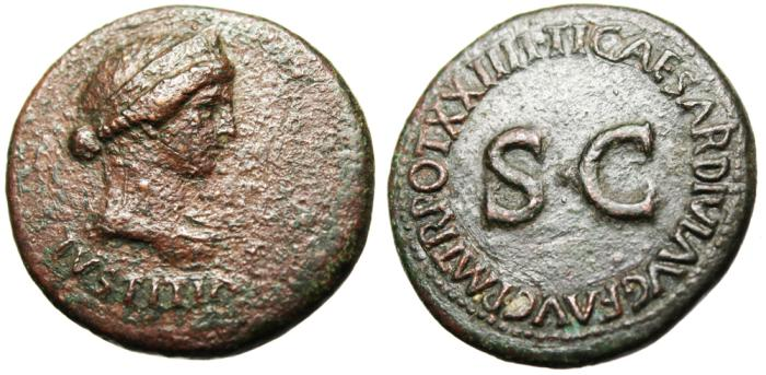 """Ancient Coins - Livia AE Dupondius """"IVSTITIA Bust & SC"""" RIC 46 Rome Rare"""