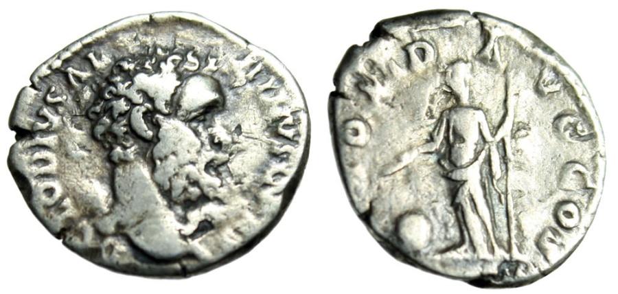 "Ancient Coins - Clodius Albinus Silver Denarius ""Providentia With Globe"" Rome 193AD RIC 1a Rare"