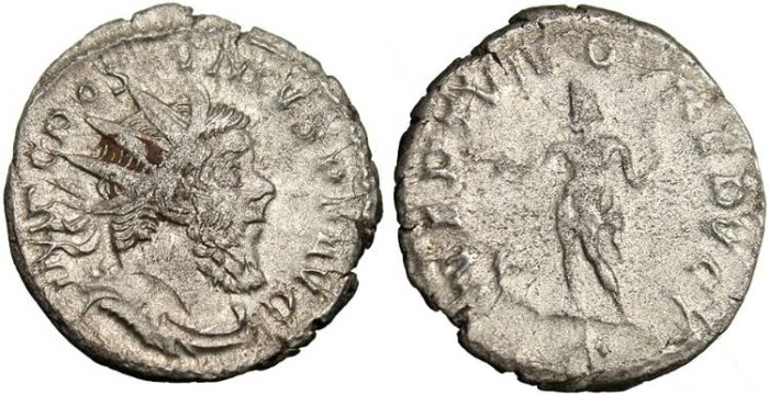 "Ancient Coins - Postumus Silver Antoninianus ""Neptune"" Lyons RIC 76"