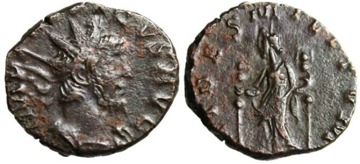 """Ancient Coins - Tetricus I AE Ant. """"Fides With Standards"""" Cologne RIC 71 VF"""