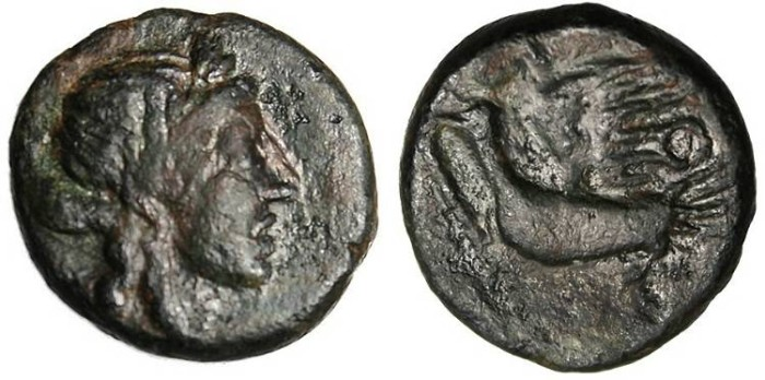 "Ancient Coins - Sikyonia, Sikyon AE Trichalkon ""Apollo & Dove"" VF Ex. Clyde Pharr"