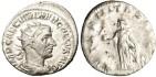 "Ancient Coins - gVF Trebonianus Gallus Silver AR Ant. ""Aeterintas With Phoenix"" RIC 30"
