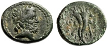 "Ancient Coins - Phoenicia, Marathos AE22 ""Zeus & Filleted Double Cornucopiae"" aVF Green Patina"