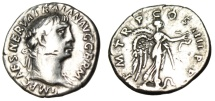 """Ancient Coins - Trajan Silver Denarius """"Victory on Prow Ornamented with Snake"""" Rome RIC 59"""