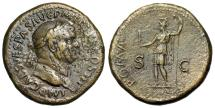 "Ancient Coins - Vespasian Sestertius ""ROMA SC Roma in Military Dress, Spear"" 71 AD RIC 190 gVF"
