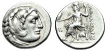 "Ancient Coins - Alexander III The Great Silver Drachm ""Herakles & Zeus, Ivy Leaf"" Antigonos I Monophthalmos as Startegos Abydos Good VF"