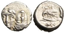 "Ancient Coins - Moesia, Istros Silver AR Diobol (1/4 Drachm) ""Two Facing Haead & Sea-Eagle"" EF"