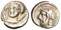 "Ancient Coins - Cilicia, Tarsos (Tarsus) Silver Obol ""Facing Bust & Ares"" Good VF"