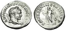 """Ancient Coins - Caracalla Silver Denarius """"Apollo, Hand Atop Lyre"""" Rome 215 AD RIC 254 VF"""