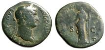 "Ancient Coins - Hadrian AE Sestertius ""Clementia"" Rome Fantastic Green & Orange Patina"