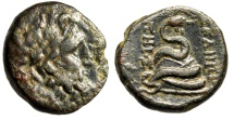"Ancient Coins - Mysia, Pergamon AE21 ""Asklepios & Serpent Coiled Around Omphalos"" gVF"