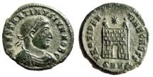 "Ancient Coins - Constantine II Caesar AE18 ""PROVIDENTIAE CAESS Campgate"" Heraclea RIC 77 VF"