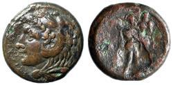 "Ancient Coins - King of Syracuse: Pyrrhos AE23 ""Herakles Portrait & Athena"""