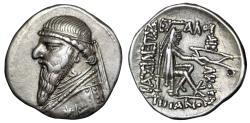 "Ancient Coins - Parthian Kingdom: Mithradates II AR Drachm ""Decorated Robe, Star & Archer"" VF"