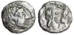 "Ancient Coins - Phoenicia, Sidon AR 1/16 Shekel ""Female Portrait & King Fighting Lion"" Very Rare"