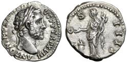 """Ancient Coins - Antoninus Pius AR Denarius """"COS IIII Vesta, Palladium"""" RIC 238 Near EF"""