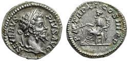 """Ancient Coins - Septimius Severus AR Denarius """"Fortuna Seated"""" Rome 203 AD RIC 189b Near EF"""
