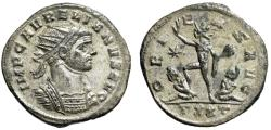 "Ancient Coins - Aurelian Silvered Antoninianus ""ORIENS AVG Sol, Two Captives, Star"" Ticinum EF"