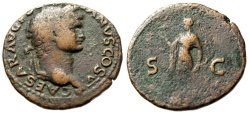 "Ancient Coins - Domitian as Caesar AE As ""SC Spes Walking, Optimism"" Rome Mint 77-78AD RIC 1053 Rare"