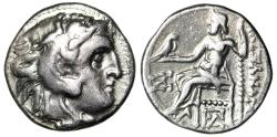 "Ancient Coins - Alexander III The Great Silver Drachm ""Herakles & Zeus"" Kolophon Mint VF"