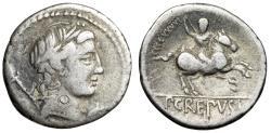 """Ancient Coins - Pub. Crepusius AR Denarius """"Apollo & Horseman, Spear"""" Rome Mint 82 BC"""