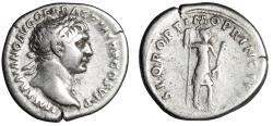 """Ancient Coins - Trajan AR Denarius """"Portrait & Virtus Holding Parazonium"""" Rome RIC 202 gF"""