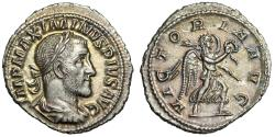 "Ancient Coins - Maximinus I Thrax AR Denarius ""VICTORIA AVG Victory"" Rome 235-236 AD Near FDC"