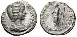 """Ancient Coins - Julia Domna (Wife of Septimius Severus) AR Denarius """"VENERI GENETRICI Venus"""" VF"""