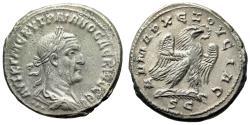 "Ancient Coins - Trajan Decius Billon Tetradrachm ""Eagle Standing on Palm Frond"" Antioch Good VF"