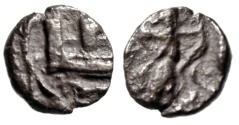 "Ancient Coins - Phoenicia, Sidon AR 1/16 Shekel (Obol) ""City Towers & King Persia Archer"" Rare"