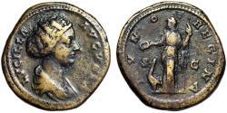 """Ancient Coins - Lucilla (Daughter of Marcus Aurelius) AE As """"IVNO REGINA Juno, Peacock"""" Good Fine"""