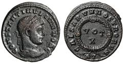 """Ancient Coins - Constantine II Caesar AE19 """"VOT X in Decorated Wreath"""" Rome RIC 243 Near EF"""