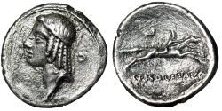 """Ancient Coins - L Calpurnius Piso Frugi AR Denarius """"Apollo Left, Crescent & Fast Horseman"""" Rare"""