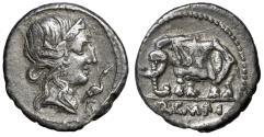"""Ancient Coins - Q Caecilius Metellus Pius AR Denarius """"Pietas, Stork / Elephant"""" Good VF"""
