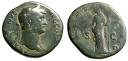 "Ancient Coins - Hadrian AE Sestertius ""Clementia"" Rome Fantastic Green & Orange Patina"