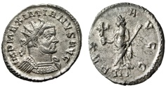 "Ancient Coins - Maximian Billon Antoninianus ""PAX AVGG Pax, III"" Lugdunum RIC 399 Rare gVF"