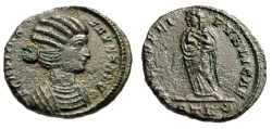 "Ancient Coins - Fausta (Wife of Constantine I The Great) AE3 ""Salus, Infants"" Trier RIC 483 aEF"