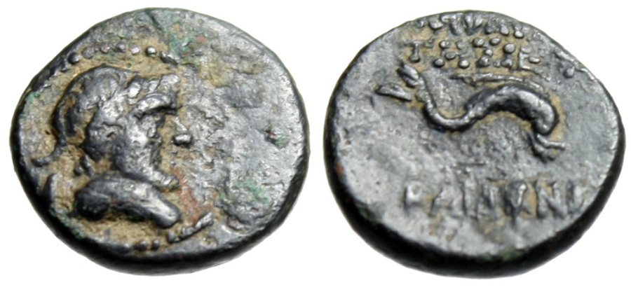 "Ancient Coins - Uncertain Greek Bronze AE12 (Phoenicia Berytos ?) ""Poseidon & Dolphin"" Very Rare"