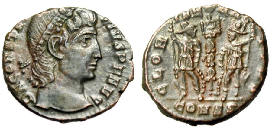 "Ancient Coins - Constantius II 15mm ""GLORIA EXERCITVS Soldiers"" Constantinople Exceptional Style"