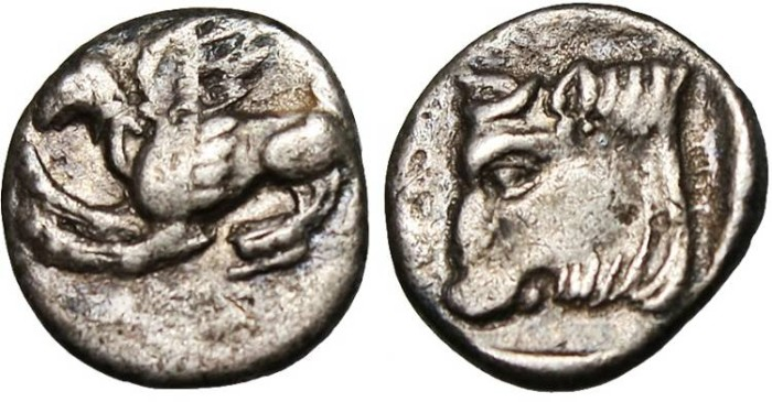 "Ancient Coins - Thrace, Abdera AR Diobol ""Griffin & Bull's Head""Scarce May 335 VF"