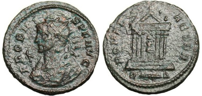 """Ancient Coins - Probus, AE Ant. """"ROMAE AETER Temple"""" RIC 187 Fine"""